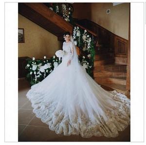 2020 새로운 가운 데 MARIAGE 앤티크 레이스 긴 소매 웨딩 드레스 신부 드레스 유연한 파이프 아플리케 Vestido 드 Noiva 2018
