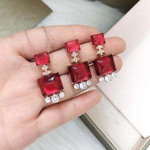 Luxury Wedding Brand Jewelry 925 Silver Gem Earrings Necklace Jewellery Set Designer Red Stud Earring Women Fashion Earings