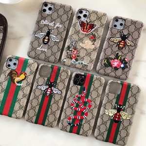 Classic 3D Embroidered Phone Case for IPhone 11 Pro X XS MAX XR 8 7 6 6s Plus Bee Butterfly Snake Cover for Samsung S20 S10 S9 S8 Note 10 9