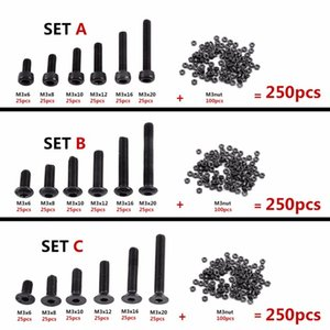 Cheap Screws 250Pcs set M3 Hex Socket Screws Bolt Hex Nuts Kit Set Assortment Kit Black Alloy Steel Hardware Cap Button Flat Head