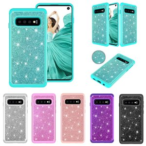 2 in 1 Bling Glitter Hybrid Armor TPU PC Case For iPhone XR XS Max X 8 7 6 Samsung S8 S9 S10 Plus S10e Note 9 J3 J7 A6 2018 J5 2017 J2 Core