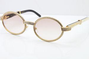 طبعة محدودة نظارات الإطار الكامل أصغر الأحجار الأبيض داخل اسود بافالو القرن النظارات الشمسية 7550178 نظارات نظارات للجنسين البيضاوي