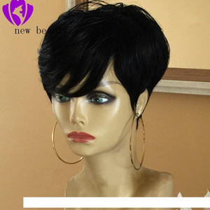 H Best Short Pixie Cut Hairstyle For Black Women Pre Plucked Lace Front Human Hair Wigs With Bangs Straight Brazilian Bob Wig