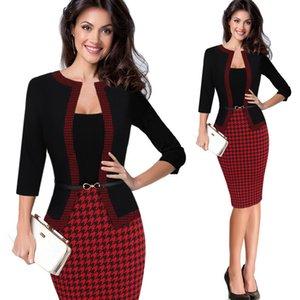 HGTE 여자가 복고 가짜 자켓 원피스 폴카 도트 대비 패치 워크 착용 할 일이 오피스 비즈니스 칼집 드레스 MX200518