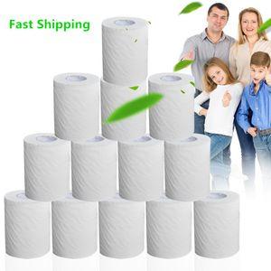 10 Rolls Tuvalet Kağıdı Kağıdı 4 Katmanlar Ev Banyo Tuvalet Kağıdı Rulo Toplu İlköğretim Odun Hamuru Tuvalet Kağıdı Doku Rulo FS9504 7339044
