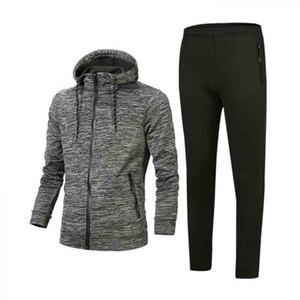 남성 운동복 재킷 정장 스트라이프 후드 운동복 패션 스타일 지퍼 브랜드 스웨터 재킷 + 바지 조깅 정장 탑
