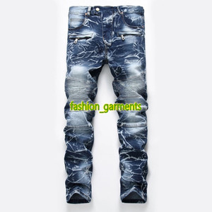 2019 Homens de Moda Jeans Mens Nostalgic Lavados estilista da motocicleta jeans reta Tide Mens Personalidade Calças Jeans