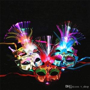 New Women Venetian LED Fiber Light up Mask Masquerade Fancy Dress Party Princess Feather Glowing Masks masquerade masks