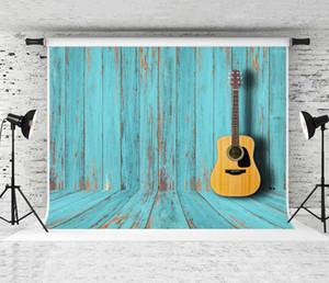 7x5ft الأزرق الخشب الملمس التصوير خلفية الرجعية غيتار الديكور خلفية للمصور صورة كشك كشك أرضية خشبية الدعامة