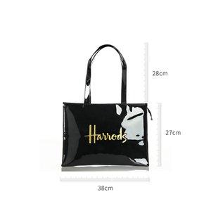 Fashion PVC Reusable Shopping Women's Eco Friendly London Shopper Large Capacity Waterproof Handbag Shoulder Bag 201014