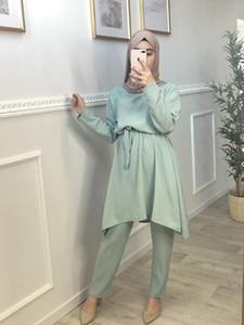 Ramadan Aid Mubarak Abaya Dubai Türkei Hijab muslimischen Sets Kleid Islam Kleidung für Frauen Ensembles Musulman Kaftan Robe Femme Ete