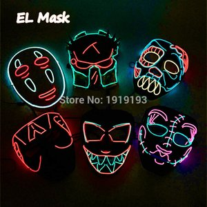 Cheap! Cartoon Figure Led Neon Halloween Party Mask Birthday Holiday Light EL LED Cold Light Fluorescent Cosplay Mask Halloween Toys