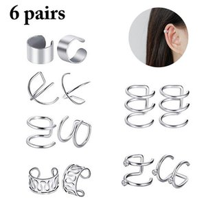 2020 New 6 Pairs Fashion Punk Rock Ear Clip Cuff Wrap Earrings No piercing-Clip On Cartilage Wrap Silver Earring Dropshipping