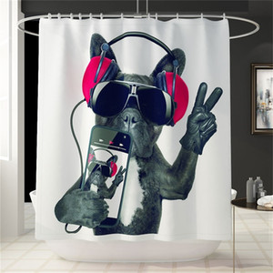 3D Digital Bathroom Cartoon Dog Printing Shower Curtain Waterproof Partition Curtain Bathroom Decoration Supplies Polyester II