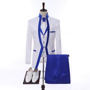 2019 White Paisley Classic Wedding Groom Suit For Men Wedding Tuxedos Groomsmen Best Man Suit (Jacket+Pants+Vest)