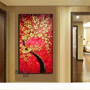 100% Hand Painted Oil Painting Gold Flowers Tree Painting Modern Fashion Home Wall Decoration For Christmas gift