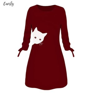 Dress Female Women Fashion Printed Cat Animal Bow O Neck Long Sleeve Blouse Mini Dress Winter Dresses Robe Pull Femme Hiver New