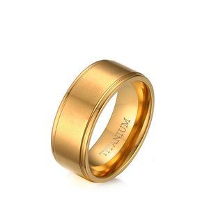8mm Or Couleur Mode Simple Hommes Anneaux Titanium Steel Ring Bijoux Cadeau pour Hommes Garçons J015