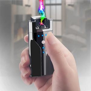 Más ligero de carga USB con pantalla doble potencia de fuego cruzado Doble arco pulsado cigarrillo electrónico Encendedores sin llama a prueba de viento ligero de los chalecos BH2998
