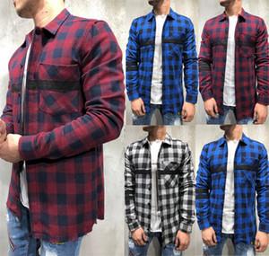 Мужские повседневные Клетчатые рубашки кнопка большого размера печати вниз рубашка с длинным рукавом Top