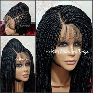 Caja libre de la Parte trenzas peluca negro / marrón / rubio / roja brasileña del frente del cordón peluca llena del jumbo trenzas peluca sintética del pelo del bebé de calor resistente