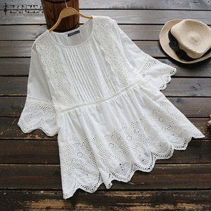 2020 Summer Solid Embroidery Blouse ZANZEA Vintage Hollow Out Shirts Women Casual Short Sleeve Cotton Linen Tunic Tops Blusas