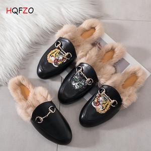 Big Plus Size 35-44 Fur Chinelos mulas macia mocassim Plano Moda Feminina PU sapatos de couro fivela Outono-Inverno Shoes