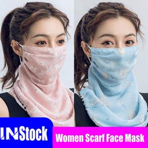 22 Styles Silk Chiffon Cheap Women Scarf Face Mask Handkerchief Outdoor Windproof Half Face Dust-proof Sunshade Masks FY6127