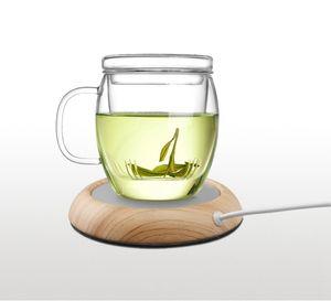 USB Wood Grain Cup Warmer Heat Beverage Mug Mat Keep Drink Warm Heater Coffee Tea Cups Mugs Coaster Home Bar desk decor FFA3721-1