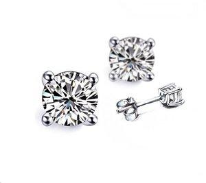 4 Carat / pair Groß Basket-Bolzen-Ohrringe für Frauen 4 Prong zogene Platin-Verpflichtungs-Jahrestags SONA synthetische Diamant-Ohrringe