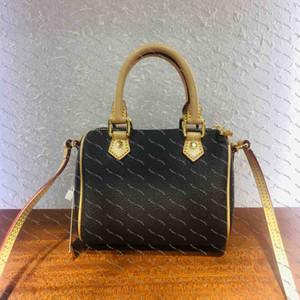 Moda Retro çanta Mini Speedy çanta fermuar açma ve klasik çiçek tasarım öğesi crossbody torba ile kaplı kapanış kumaş