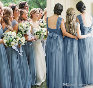 2019 Light Blue Summer Boho Abito da damigella d'onore Backless Country Garden Festa nuziale formale Guest Maid of Honor Abito Plus Size Custom Made