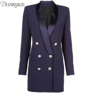 Nouveau 2020 Spring Spring Automne Designer Blazer Femme Métal Lion Boutons de châle à double boutonnage Jacket Long Blazer Jacket bleu marine