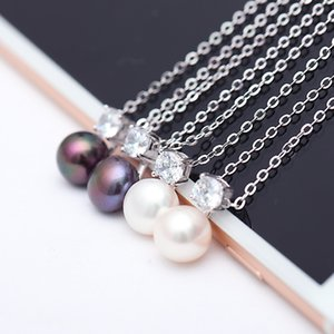 DAIMI 8-9mm Natural Pearl Pendant Necklace Shining Pearl Necklace Women Wedding Jewelry Match Dresses