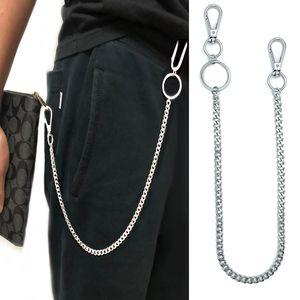 38cm Métal long portefeuille Ceinture Chain Rock Punk Pantalon taille basse Pantalon Jean Trousseau Bague en argent Clips HipHop Bijoux Keyring hommes
