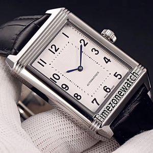 Yeni Reverso Klasik Orta Ince 2548520 Miyota 8215 Otomatik Erkek İzle Çelik Kasa Beyaz Kadran Siyah Deri Kayış Timezonewatch E26a1
