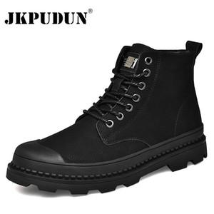Черный теплая зима Мужчины сапоги из натуральной кожи Ботильоны Мужчины Зима Рабочая обувь Мужчины Военные меховые ботинки снега для Botas JKPUDUN