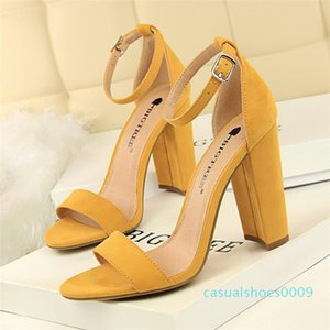 Women Sandals Summer Shoes Flock Block Heels Buckle Strap Ladies Classic Sandals Female Fashion High Heels Zapatos De Mujer c09