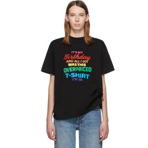 20SS VT do arco-íris de aniversário colorido letras impressas T Fashion Street manga curta Verão T-shirt Casual Hip Hop respirável Tee HFYMTX629