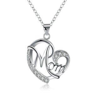 Madre de los collares pendientes de cristal de diamante en forma de corazón encantos madre Amor joyas de moda Madre Cumpleaños Día regalo de la joyería de plata de oro rosa de color