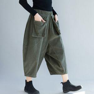 Mferlier Womens Pants Elastic Waist Loose Casual Pockets Vintage Comfortable Solid Green Gray Calf Length Corduroy Pants