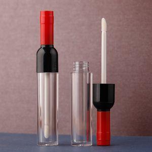 5 ML 30/10 / 50pcs botella de plástico transparente Lipgloss con Tapa de color, la forma de vino vacío portable creativo del tubo brillo de labios, pintalabios