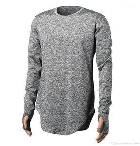 Couleur Mens Tops manches longues Skinny T-shirt des hommes d'automne Designer T-shirts doigt Longline courbé Rue solide