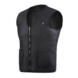 Heated Vest, Washable Size Adjustable USB Charging Heated Warm Vest for Outdoor Camping Hiking Golf (Battery Not Included) Black