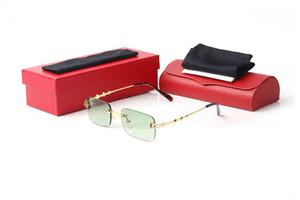 نظارات رجالي للرجال النساء للجنسين الأزياء الرياضية بدون إطار ريترو نظارات شمسية واضحة مرايا الإطار سبائك UV400 نظارات هلالية