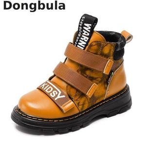 Menino Botas de Inverno Crianças Shoes New Boy couro genuíno moda Martin botas Student Sneakers mais de veludo quente Crianças neve Botas Y190525