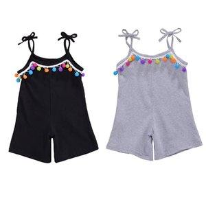 1-6Y Fashion Summer Girls Overalls Spaghetti Strap Rompers Shorts Colorful Tassel Ball Sling Sleeveless Solid Loose Jumpsuits