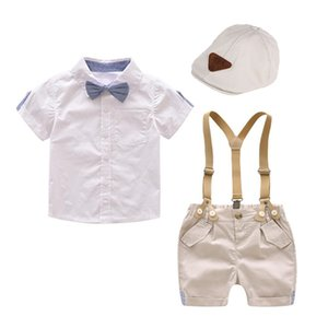 Kids Clothes Toddler Boys Clothing Set with Hat Children White Shirt Shorts 5 Pieces Boy Outfits 1-4 years Summer Suit T200707