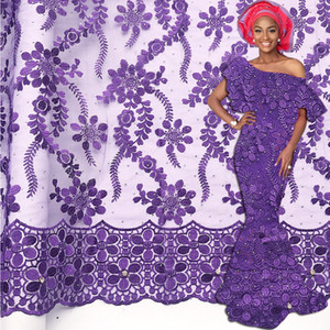 High Quality Nigerian Tulle Lace Fabric Latest French Stone Swiss Lace Fabric African Guipure Net Materal For Wedding Dress