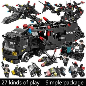 SWAT Police Station truck model Building Blocks City machine Helicopter Car Figures Bricks Educational Toy For Children